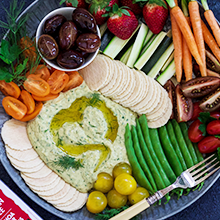 Herb Hummus with Quinoa Wafer Crackers