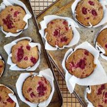 Raspberry Kombutcha Choc Chip Muffins