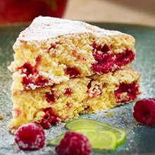 Raspberry and Lime Polenta Cake