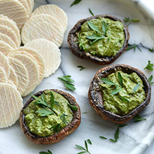 Baked Mushroom with Vegan Pesto Dip